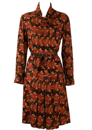 Ditsy Print Floral, Cowl Neck Dress in Red, Orange & Brown - L