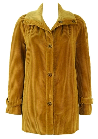 Jumbo Cord Camel Coat with Cowl Collar - M/L