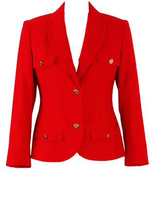 Military Style Fitted Red Jacket with Gold Buttons - M