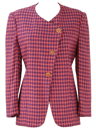 Vintage 90's Purple & Pink Harlequin Patterned Jacket - M