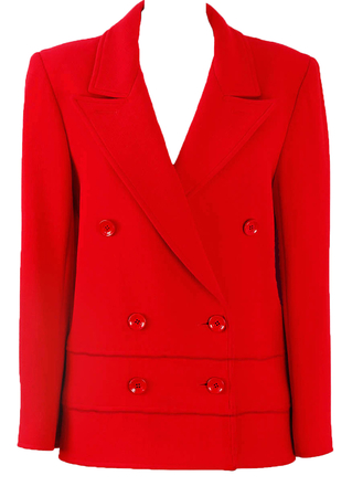 Vintage 70's Valentino Boutique Double Breasted Red Jacket - L