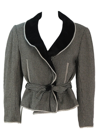 Black & White Houndstooth Belted Jacket with Velvet Collar - S/M