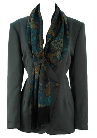 Vintage 90's Grey Jacket with Floral Patterned Scarf Lapel - M