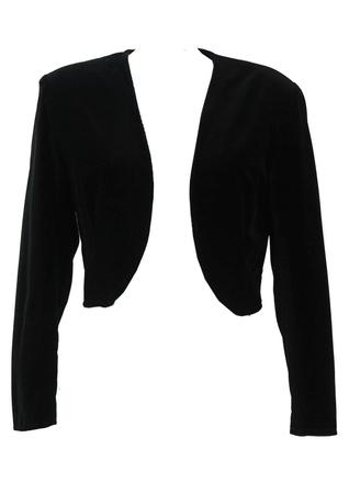 Black Velvet Cropped Bolero Jacket - M/L
