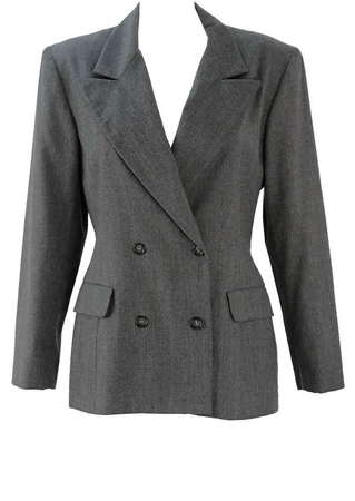 Cacharel Grey Double Breasted Wool Jacket - M