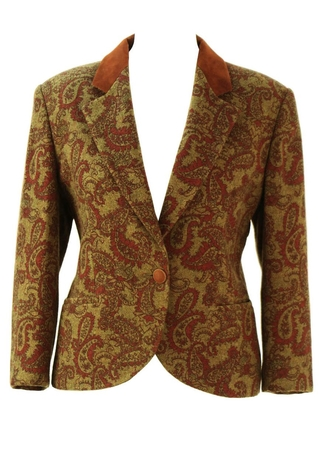 Olive Green & Russet Paisley Print Wool Jacket - M/L