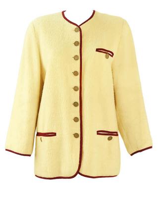 Tyrolean Cream Jacket with Burgundy Trim Detail - L
