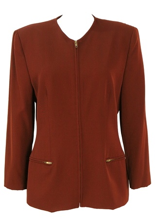 Genny Brown Zip Front Wool Jacket - M/L