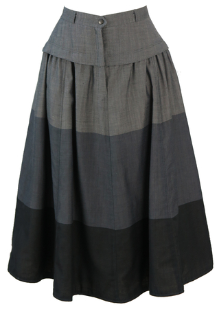 Grey and Black Wide Stripe Midi Skirt - S