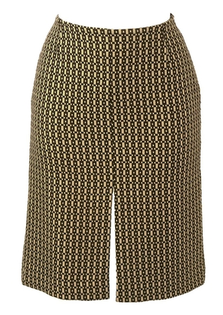Brown & Cream Wool Geometric Patterned Pencil Skirt - S