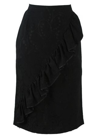 Black Ruffle Detail Knee Length Pencil Skirt with Circle Graphic - S/M