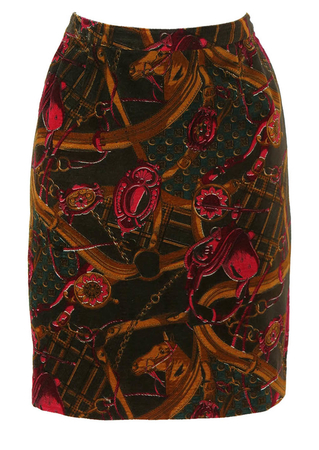 Equestrian Patterned Velvet Pencil Skirt - S
