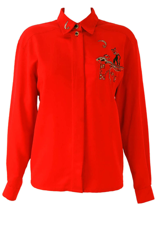 Red Blouse with Lady & The Tramp Embroidered Pocket - M/L