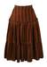 Tiered Folk Style Skirt in Ochre, Burgundy & Green Tonic Fabric - S