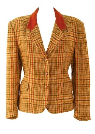 Belfe Tweed Jacket in Camel, Orange & Green with Paisley Lining - M