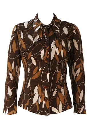 Vintage 1960's Brown, Beige & White Abstract Patterned Blouse - S