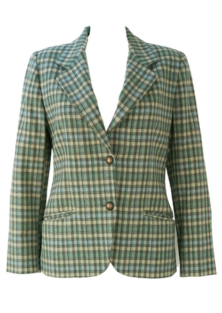 Byblos Blue, Green, Cream & Grey Check Wool Jacket - M