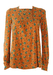 Vintage 1970's Camel Smock Top with Ditsy Floral Print - S/M