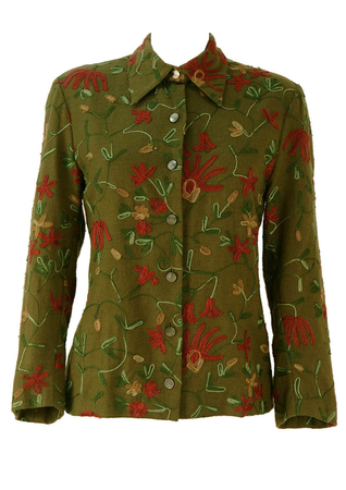 Olive Green Blouse with Floral Embroidery Design - M