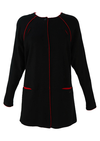 Vintage 1980's 3/4 Length Batwing Top in Black & Red - M/L
