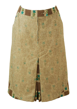 Fawn Coloured Skirt with Blue & Brown Floral Check Pattern - M