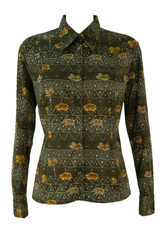 Vintage 1960's Floral Patterned Blouse in Green, Ochre & Beige - M/L