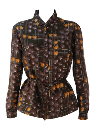 Vintage 1960's Belted Blouse with Abstract Pattern in Brown & Ochre - L