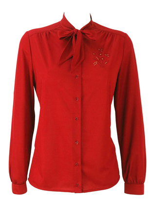 Red Pussy Bow Blouse with Floral Embroidery Motif - M