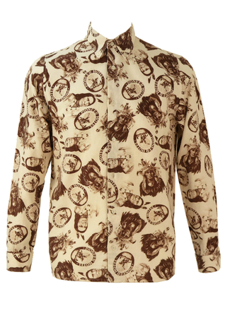 Native American Photographic Print Shirt in White and Brown - M/L