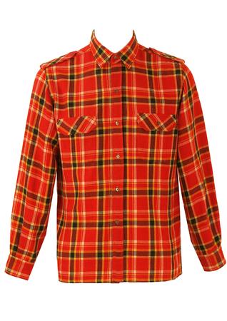 Red, Black and Yellow Tartan Check Flannel Shirt - L/XL