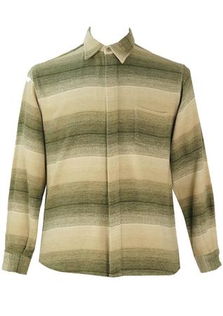 Green, Beige and Cream Striped Flannel Shirt - M
