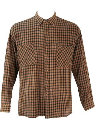 Grey and Orange Check Flannel Shirt - L/XL