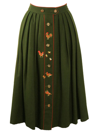 Tyrolean Woodland Green Wool Skirt with Farmyard Animal Motifs - S/M