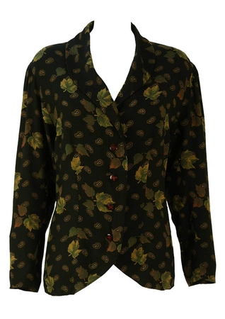 Black Blouse with Green and Brown Leaf & Paisley Pattern - L