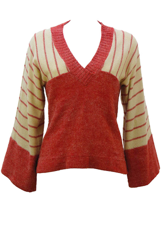 Kimono Style Patterned Knit Jumper - S / M