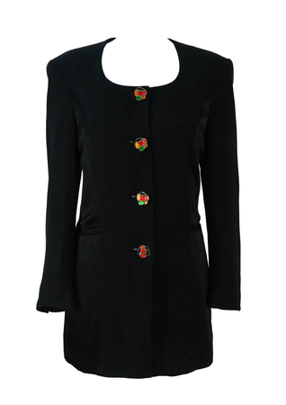 Black 3/4 Length Jacket with Multicolour Metallic Buttons - M/L