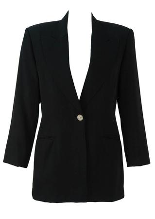 Black Tux Style Evening Jacket with Diamante Button - M