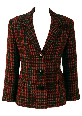 Basile Black Jacket with Multicolour Check - M