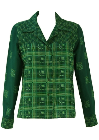 Vintage 1960's Green & Yellow Blouse with Geometric Pattern - M/L