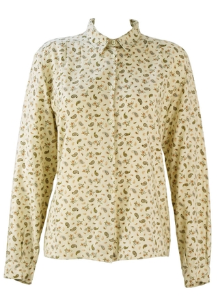 Cream Blouse with Delicate Paisley & Floral Print Pattern - M/L