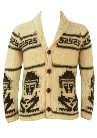 Nordic Style Cream & Brown Knit Cardigan with Tribal Man Pattern - S