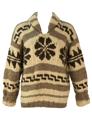Chunky Cream, Brown and Grey Patterned Nordic Style Jumper - XL/XXL