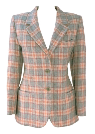 Wool & Alpaca Jacket in a Cream, Blue and Pink Check - S/M