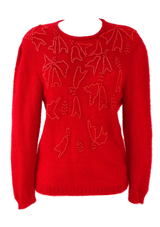Bold Red Jumper with Iridescent Red Bead Pattern - M