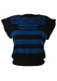 Blue & Black Striped Sleeveless Jumper with Floral Pattern - M