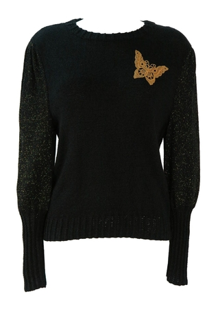 Black Jumper with Gold Glittery Sleeves & Butterfly - S