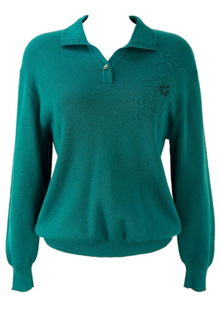 Turquoise Jumper with Embroidered Pattern - M