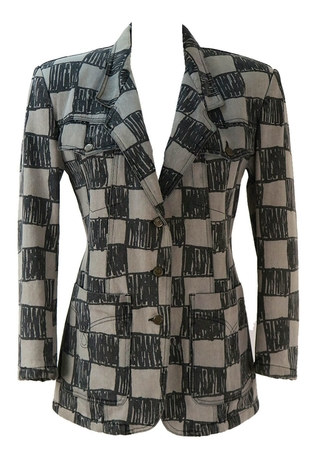 Moschino Grey and Black Abstract Check Jacket - M