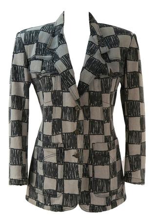 Moschino Grey and Black Abstract Check Jacket - M