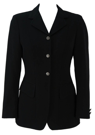 Black Riding Jacket with Horse Motif Buttons - S
